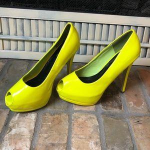 GLAZE Platform sexy stiletto high heels neon Sz 9